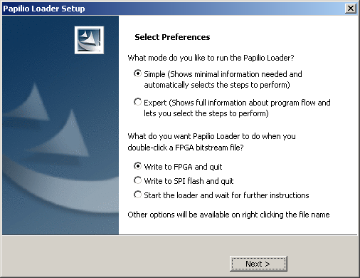 Papilio Loader Preferences screen
